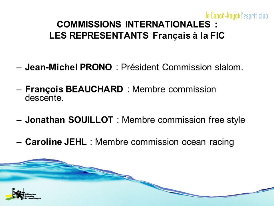 COMMISSIONS INTERNATIONALES : LES REPRESENTANTS Français à la FIC –Jean-Michel PRONO : Président Commission slalom. –François BEAUCHARD : Membre commi