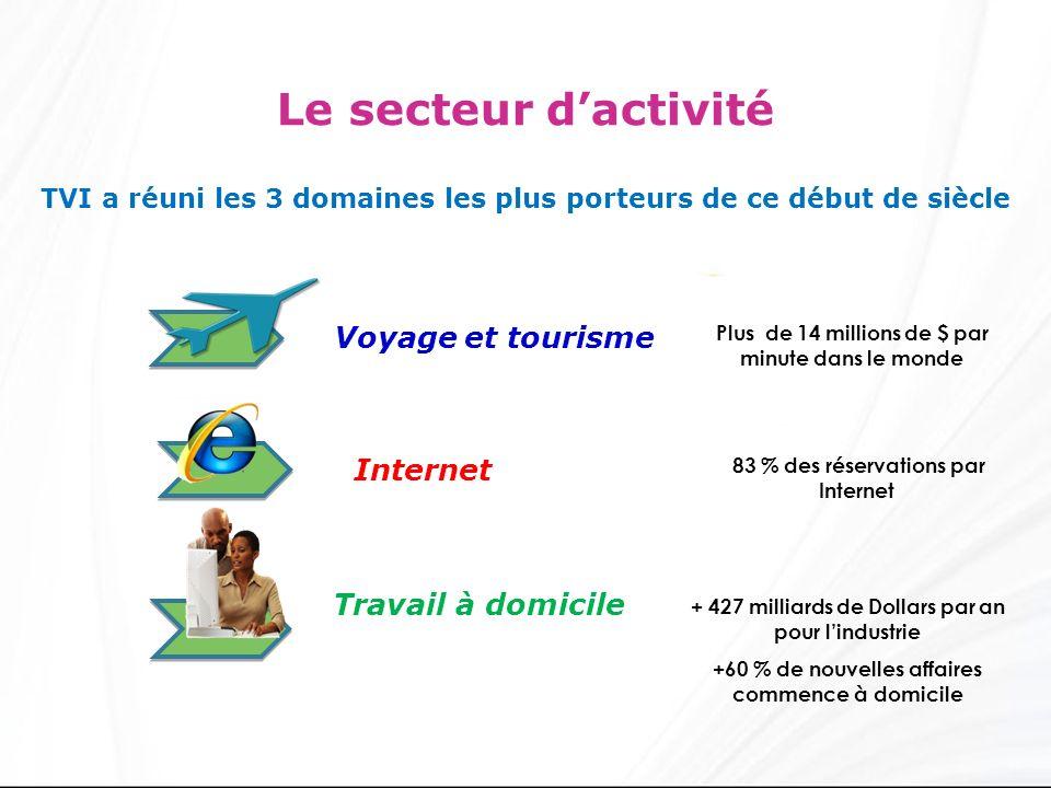 Le secteur dactivité Voyage et tourisme Internet Travail à domicile Plus de 14 millions de $ par minute dans le monde 83 % des réservations par Internet + 427 milliards de Dollars par an pour lindustrie +60 % de nouvelles affaires commence à domicile TVI a réuni les 3 domaines les plus porteurs de ce début de siècle