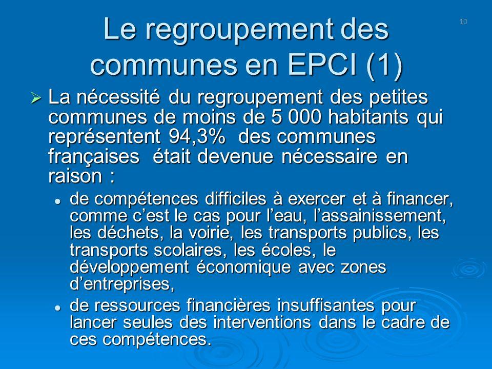 10 Le regroupement des communes en EPCI (1) La nécessité du regroupement des petites communes de moins de 5 000 habitants qui représentent 94,3% des c