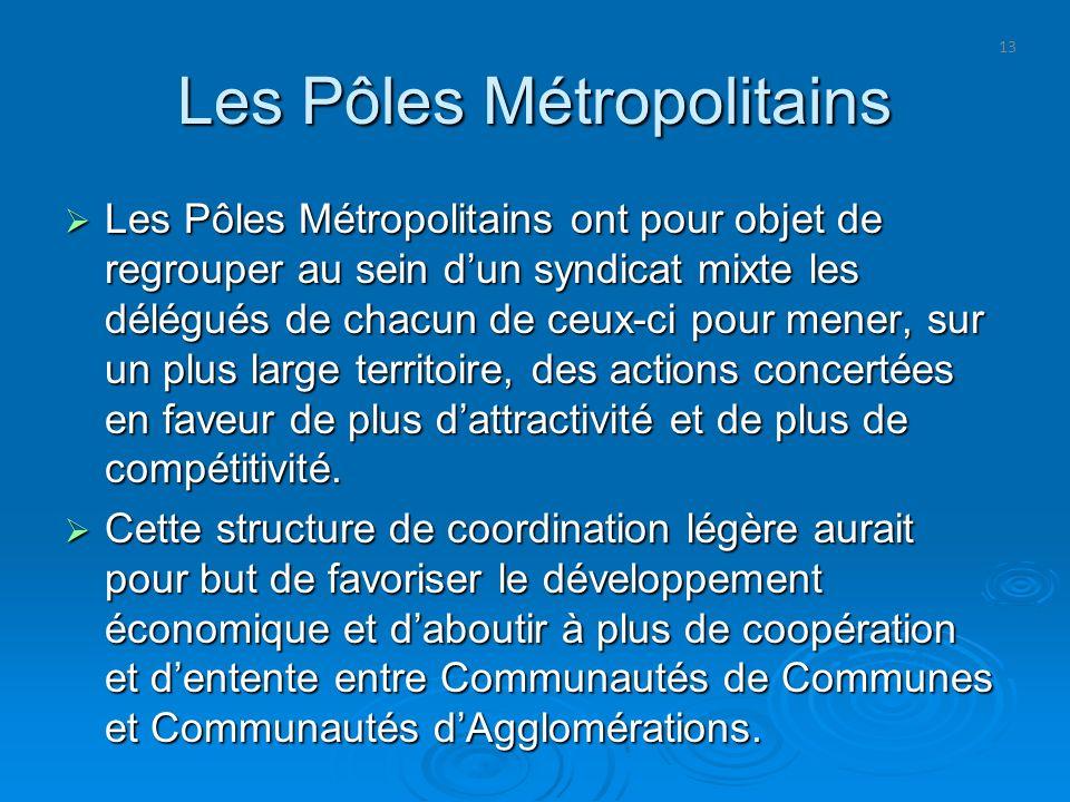 13 Les Pôles Métropolitains Les Pôles Métropolitains ont pour objet de regrouper au sein dun syndicat mixte les délégués de chacun de ceux-ci pour men