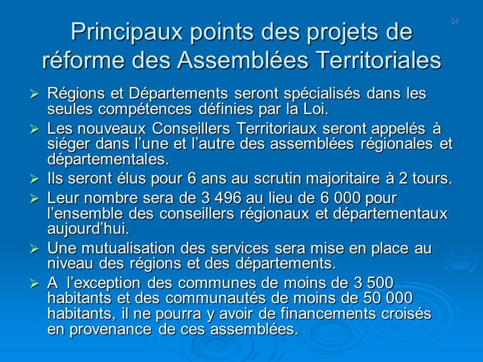 14 Principaux points des projets de réforme des Assemblées Territoriales Régions et Départements seront spécialisés dans les seules compétences défini