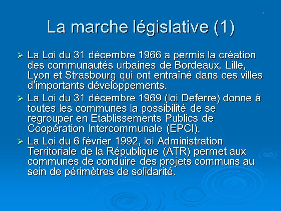 2 La marche législative (1) La Loi du 31 décembre 1966 a permis la création des communautés urbaines de Bordeaux, Lille, Lyon et Strasbourg qui ont en