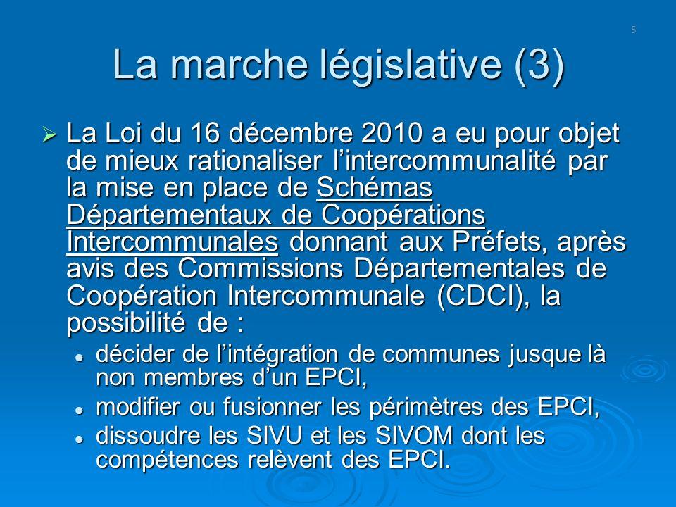 5 La marche législative (3) La Loi du 16 décembre 2010 a eu pour objet de mieux rationaliser lintercommunalité par la mise en place de Schémas Départe