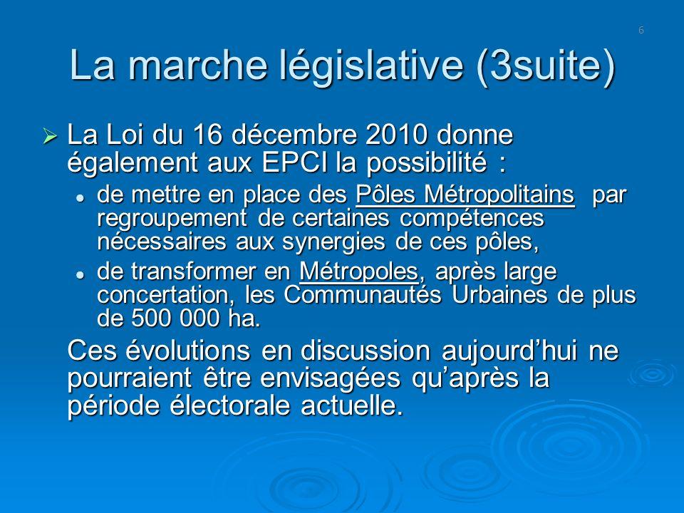 6 La marche législative (3suite) La Loi du 16 décembre 2010 donne également aux EPCI la possibilité : La Loi du 16 décembre 2010 donne également aux E