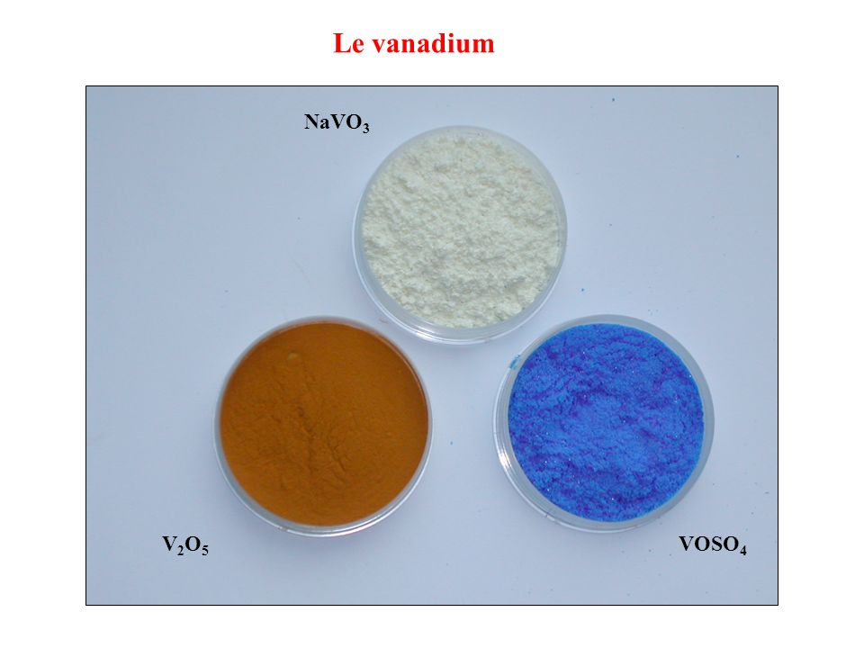 Le vanadium NaVO 3 V2O5V2O5 VOSO 4