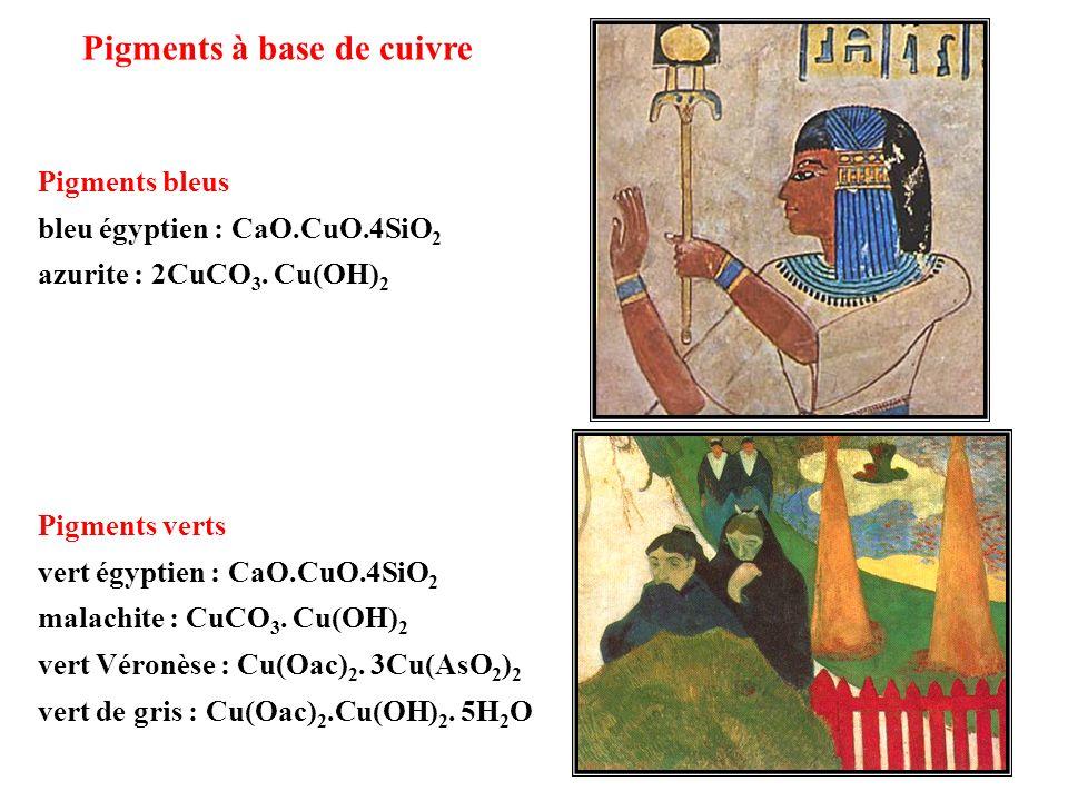 Pigments à base de cuivre Pigments bleus bleu égyptien : CaO.CuO.4SiO 2 azurite : 2CuCO 3. Cu(OH) 2 Pigments verts vert égyptien : CaO.CuO.4SiO 2 mala