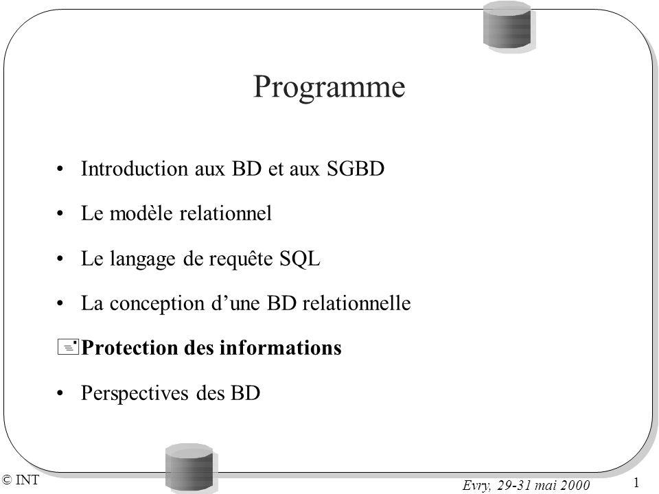 © INT 1 Evry, 29-31 mai 2000 Programme Introduction aux BD et aux SGBD Le modèle relationnel Le langage de requête SQL La conception dune BD relationnelle +Protection des informations Perspectives des BD