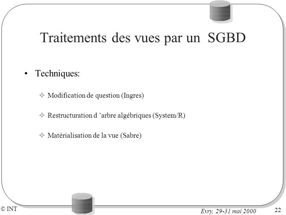 © INT 22 Evry, 29-31 mai 2000 Traitements des vues par un SGBD Techniques: Modification de question (Ingres) Restructuration d arbre algébriques (System/R) Matérialisation de la vue (Sabre)