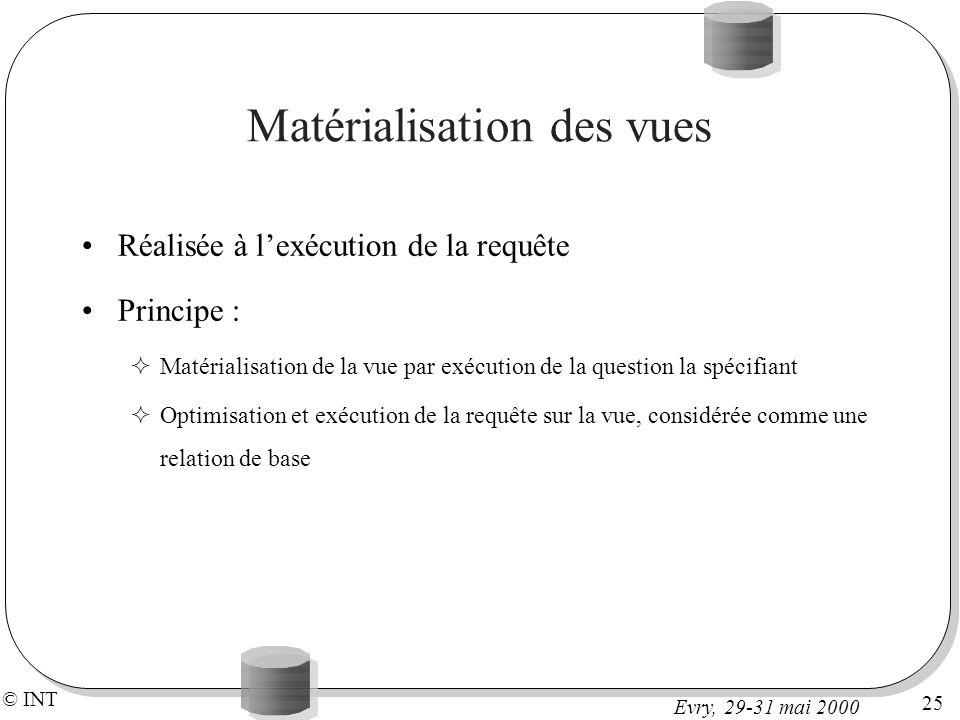 © INT 25 Evry, 29-31 mai 2000 Matérialisation des vues Réalisée à lexécution de la requête Principe : Matérialisation de la vue par exécution de la question la spécifiant Optimisation et exécution de la requête sur la vue, considérée comme une relation de base