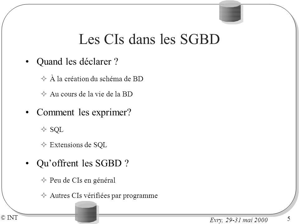 © INT 5 Evry, 29-31 mai 2000 Les CIs dans les SGBD Quand les déclarer .