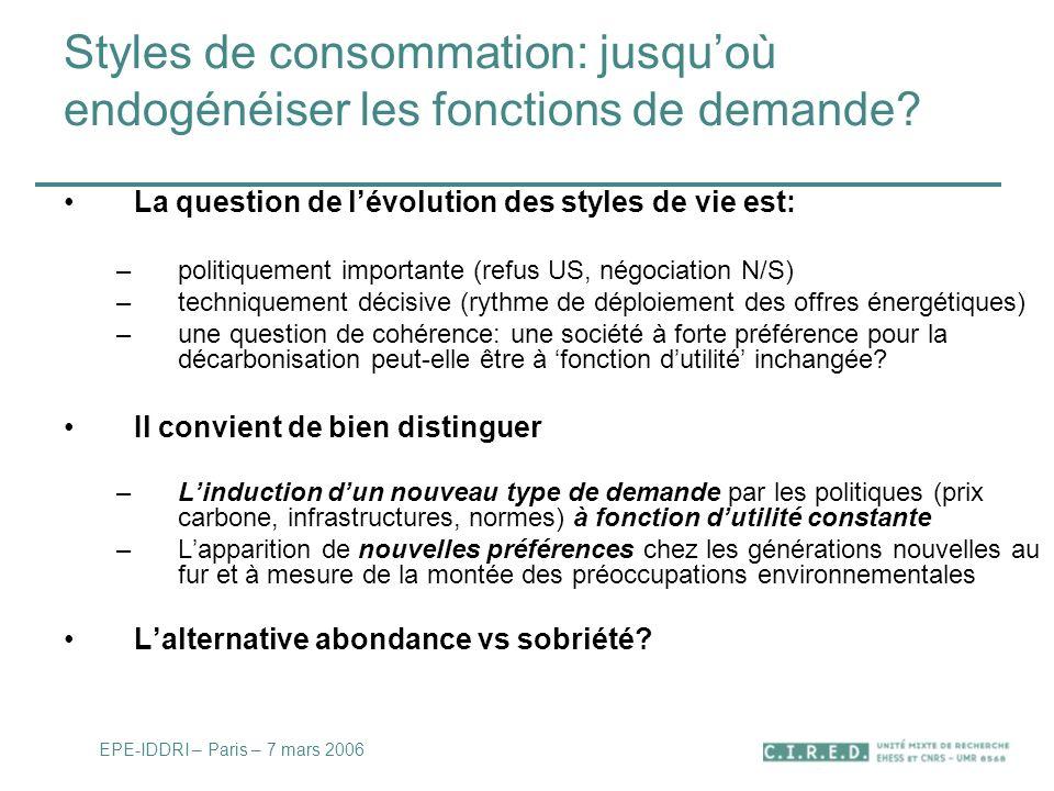Styles de consommation: jusquoù endogénéiser les fonctions de demande.