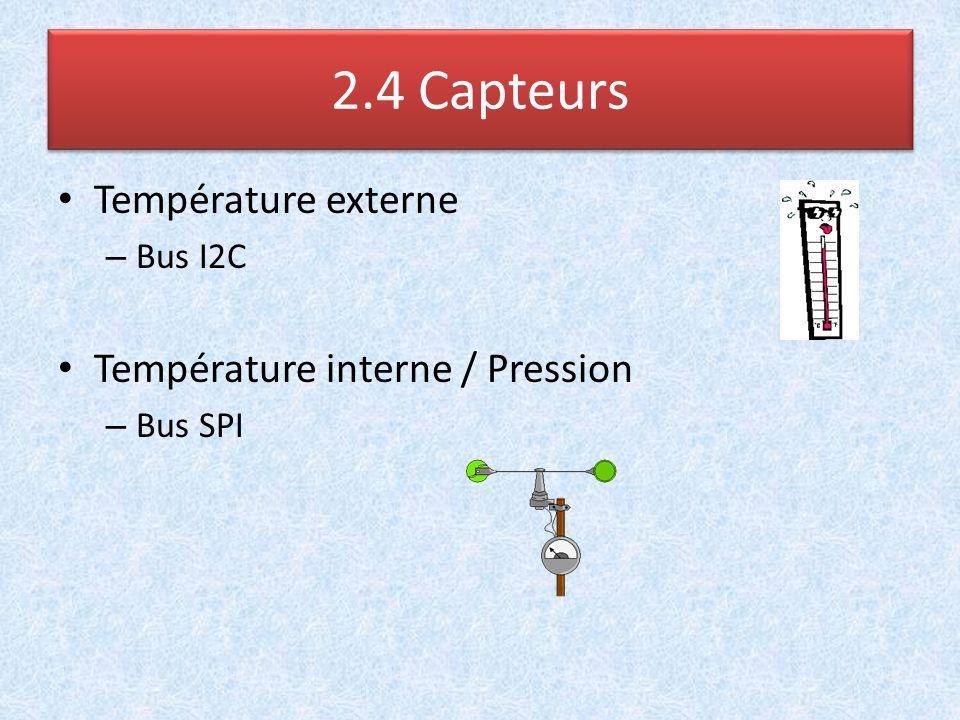 Température externe – Bus I2C Température interne / Pression – Bus SPI 2.4 Capteurs