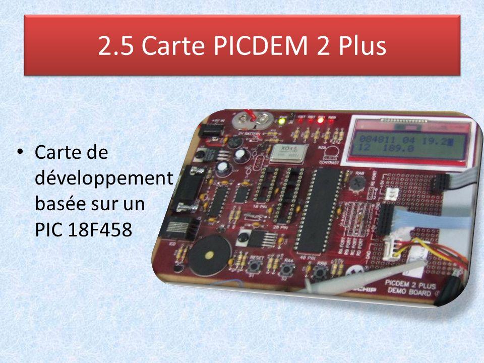 Carte de développement basée sur un PIC 18F458 2.5 Carte PICDEM 2 Plus