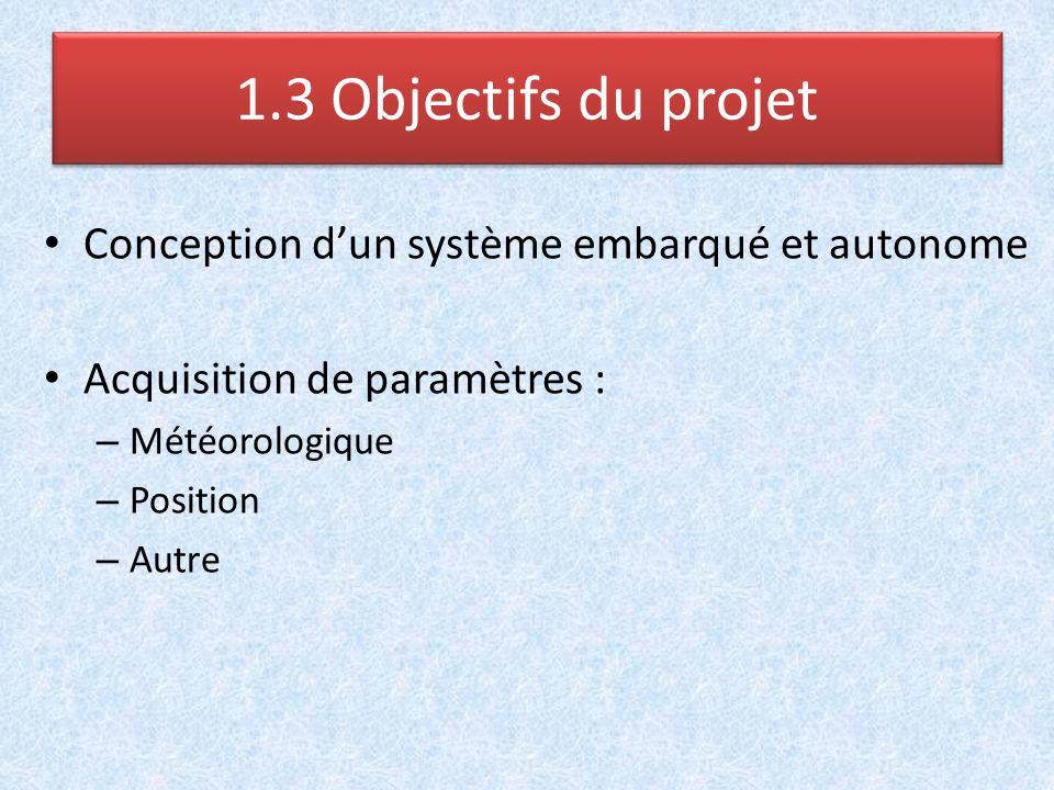 Conception dun système embarqué et autonome Acquisition de paramètres : – Météorologique – Position – Autre 1.3 Objectifs du projet