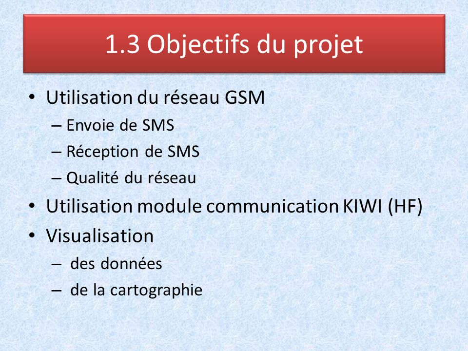 Utilisation du réseau GSM – Envoie de SMS – Réception de SMS – Qualité du réseau Utilisation module communication KIWI (HF) Visualisation – des donnée