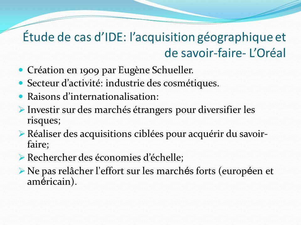 Étude de cas dIDE: lacquisition géographique et de savoir-faire- LOréal Création en 1909 par Eugène Schueller. Secteur dactivité: industrie des cosmét