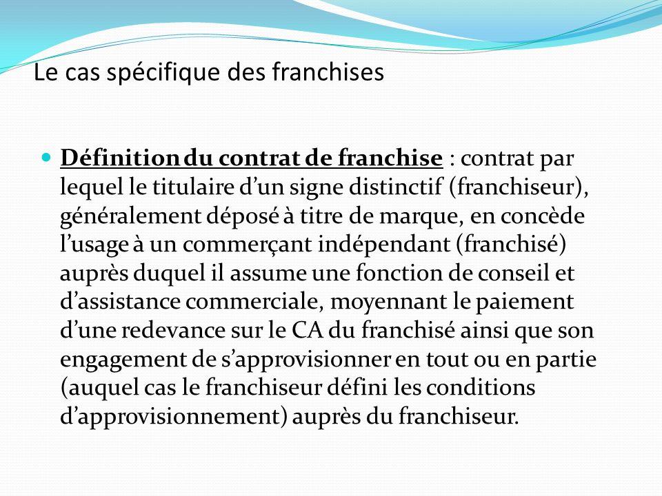 Le cas spécifique des franchises Définition du contrat de franchise : contrat par lequel le titulaire dun signe distinctif (franchiseur), généralement
