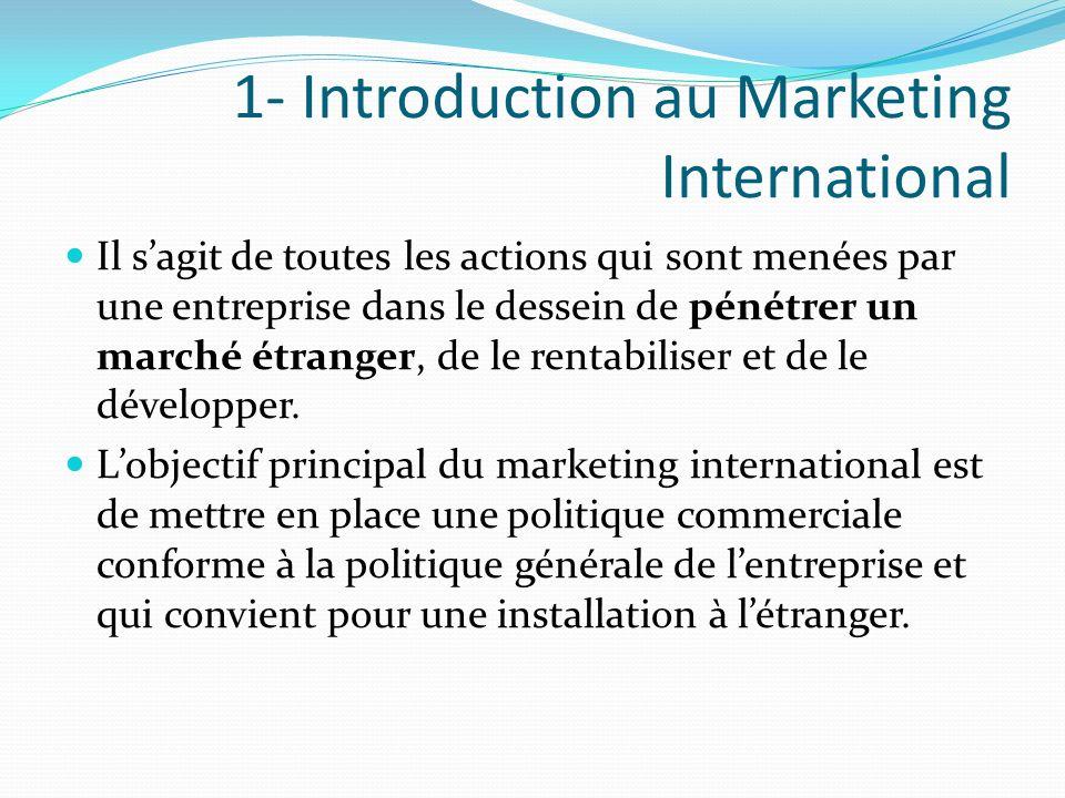 1- Introduction au Marketing International Il sagit de toutes les actions qui sont menées par une entreprise dans le dessein de pénétrer un marché étr