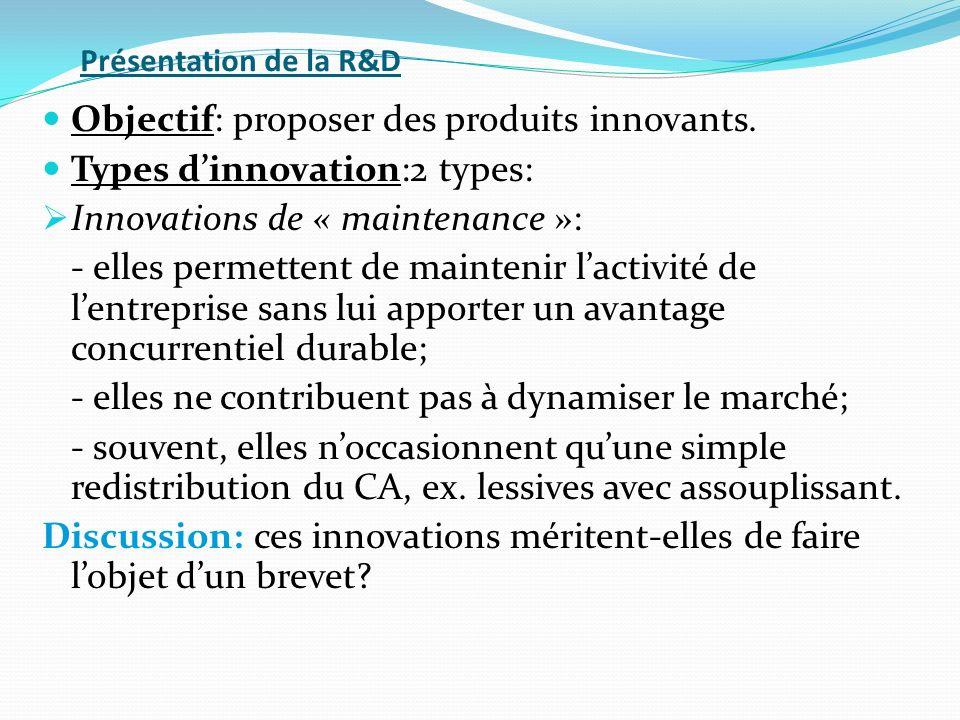 Présentation de la R&D Objectif: proposer des produits innovants. Types dinnovation:2 types: Innovations de « maintenance »: - elles permettent de mai