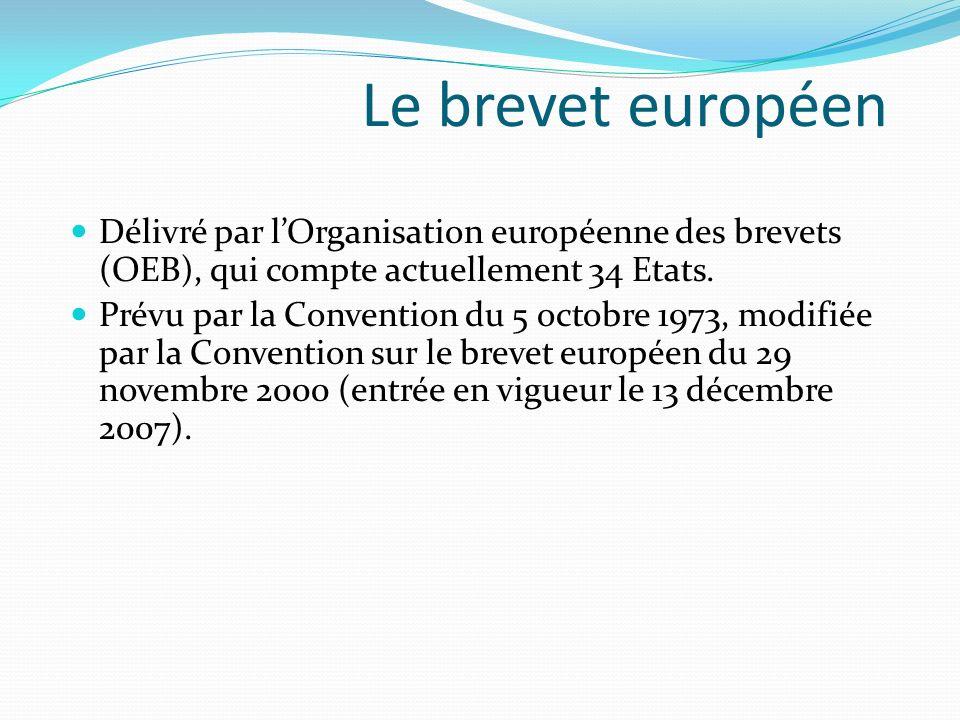 Le brevet européen Délivré par lOrganisation européenne des brevets (OEB), qui compte actuellement 34 Etats. Prévu par la Convention du 5 octobre 1973