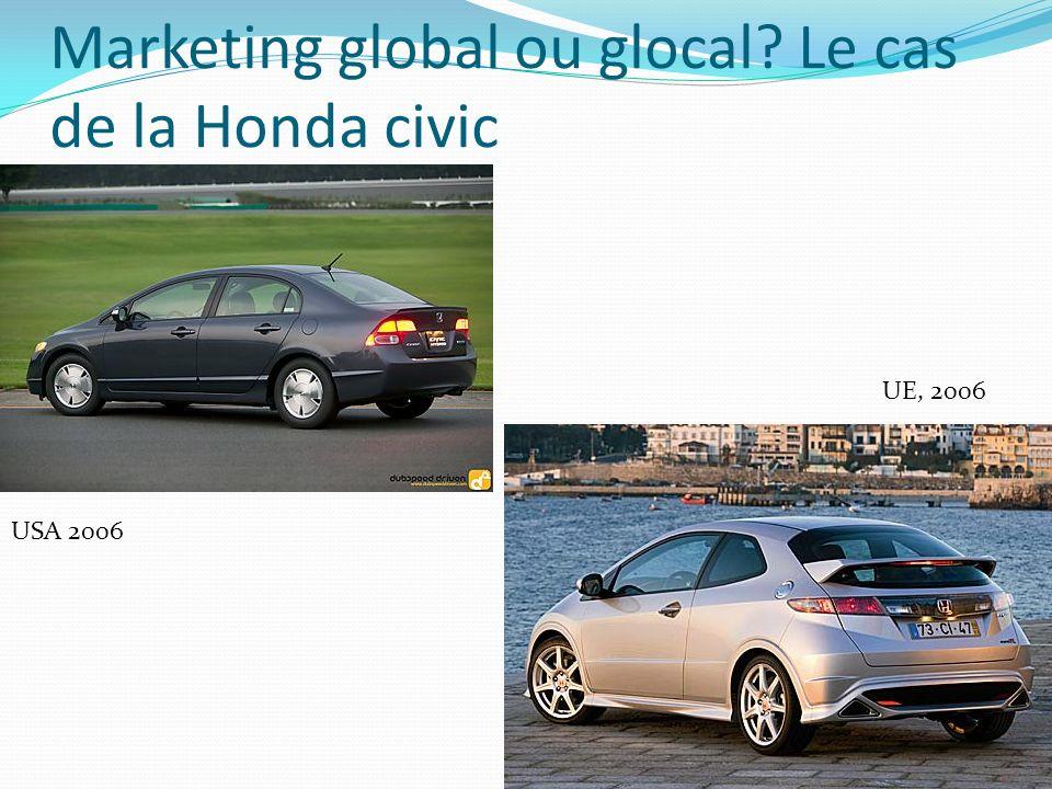 Marketing global ou glocal? Le cas de la Honda civic USA 2006 UE, 2006