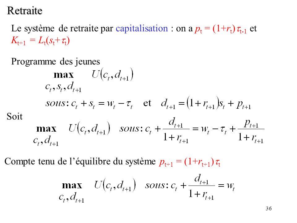 36 Retraite Le système de retraite par capitalisation : on a p t = (1+r t ) t-1 et K t+1 = L t (s t + t ) Programme des jeunes Soit Compte tenu de léq