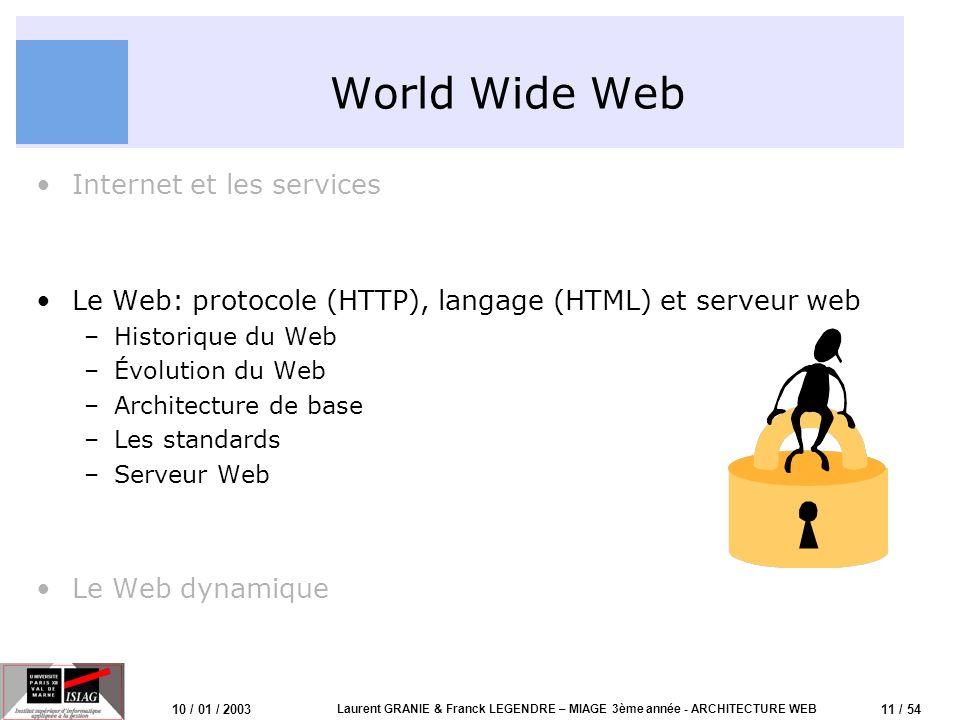 11 / 54 10 / 01 / 2003 Laurent GRANIE & Franck LEGENDRE – MIAGE 3ème année - ARCHITECTURE WEB World Wide Web Internet et les services Le Web: protocol