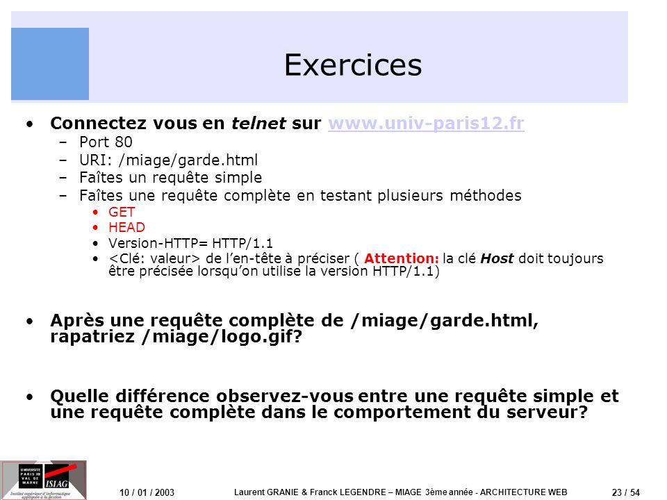 23 / 54 10 / 01 / 2003 Laurent GRANIE & Franck LEGENDRE – MIAGE 3ème année - ARCHITECTURE WEB Exercices Connectez vous en telnet sur www.univ-paris12.
