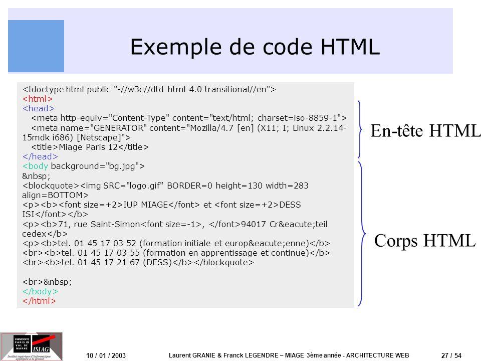 27 / 54 10 / 01 / 2003 Laurent GRANIE & Franck LEGENDRE – MIAGE 3ème année - ARCHITECTURE WEB Exemple de code HTML Miage Paris 12 IUP MIAGE et DESS IS