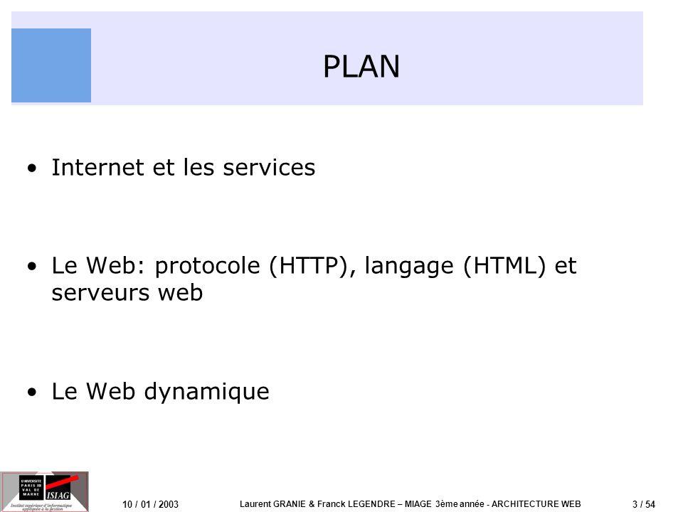 3 / 54 10 / 01 / 2003 Laurent GRANIE & Franck LEGENDRE – MIAGE 3ème année - ARCHITECTURE WEB PLAN Internet et les services Le Web: protocole (HTTP), l