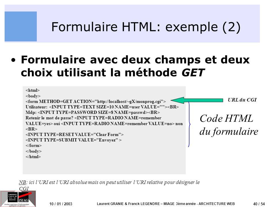 40 / 54 10 / 01 / 2003 Laurent GRANIE & Franck LEGENDRE – MIAGE 3ème année - ARCHITECTURE WEB Formulaire HTML: exemple (2) Formulaire avec deux champs