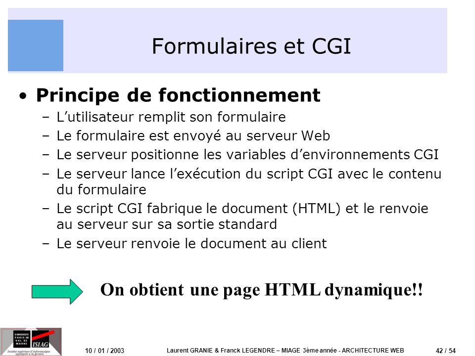 42 / 54 10 / 01 / 2003 Laurent GRANIE & Franck LEGENDRE – MIAGE 3ème année - ARCHITECTURE WEB Formulaires et CGI Principe de fonctionnement –Lutilisat