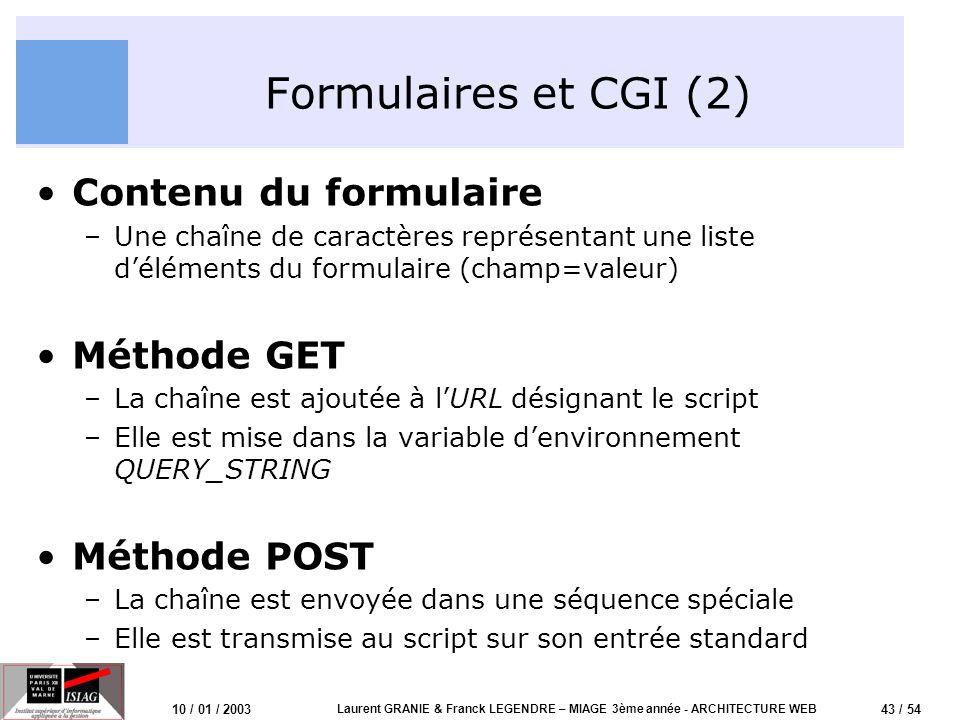 43 / 54 10 / 01 / 2003 Laurent GRANIE & Franck LEGENDRE – MIAGE 3ème année - ARCHITECTURE WEB Formulaires et CGI (2) Contenu du formulaire –Une chaîne