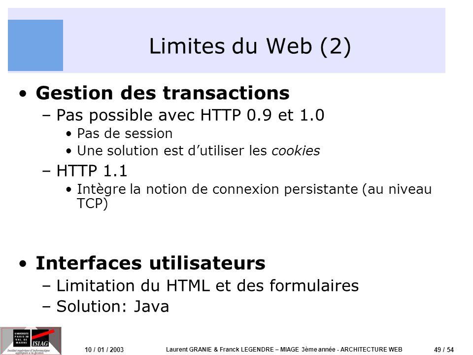 49 / 54 10 / 01 / 2003 Laurent GRANIE & Franck LEGENDRE – MIAGE 3ème année - ARCHITECTURE WEB Limites du Web (2) Gestion des transactions –Pas possibl