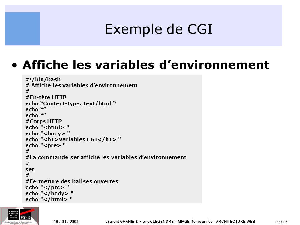 50 / 54 10 / 01 / 2003 Laurent GRANIE & Franck LEGENDRE – MIAGE 3ème année - ARCHITECTURE WEB Exemple de CGI Affiche les variables denvironnement #!/b