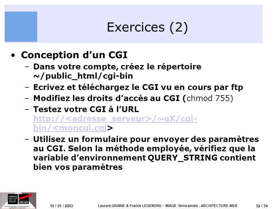 52 / 54 10 / 01 / 2003 Laurent GRANIE & Franck LEGENDRE – MIAGE 3ème année - ARCHITECTURE WEB Exercices (2) Conception dun CGI –Dans votre compte, cré