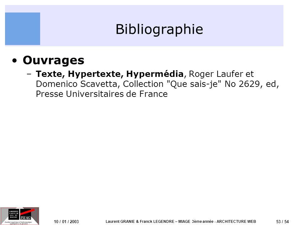 53 / 54 10 / 01 / 2003 Laurent GRANIE & Franck LEGENDRE – MIAGE 3ème année - ARCHITECTURE WEB Bibliographie Ouvrages –Texte, Hypertexte, Hypermédia, R