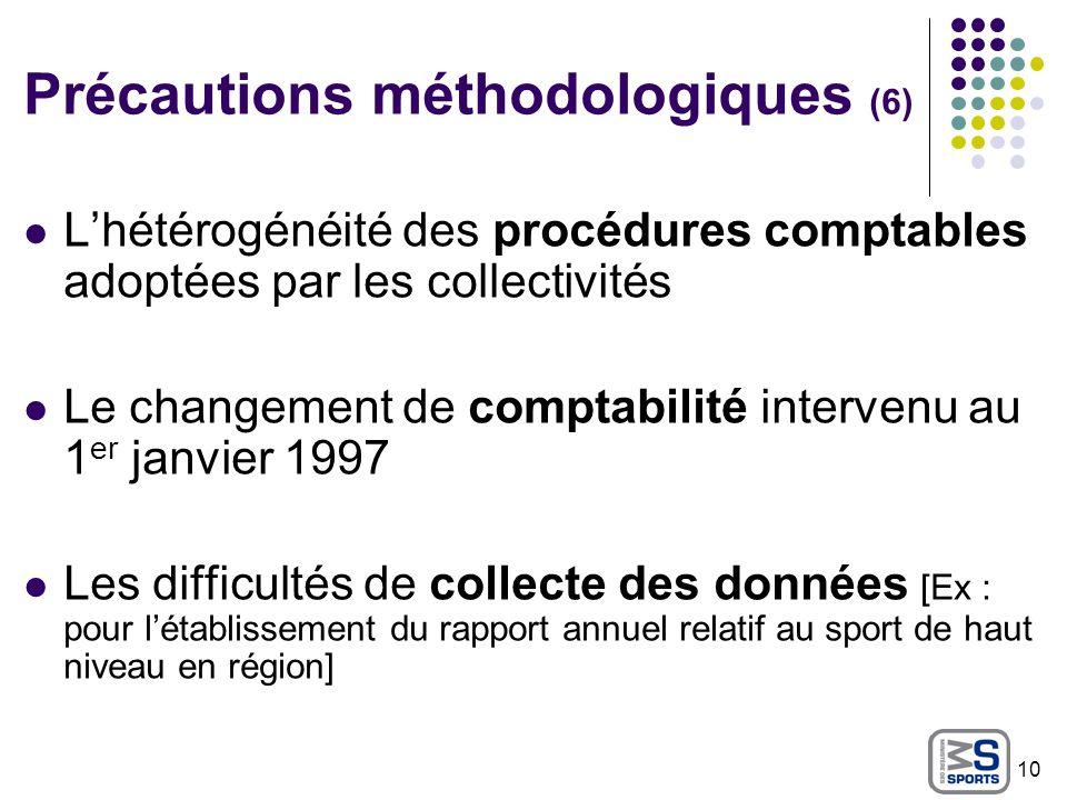 Précautions méthodologiques (6) Lhétérogénéité des procédures comptables adoptées par les collectivités Le changement de comptabilité intervenu au 1 e