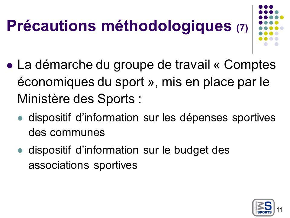 Précautions méthodologiques (7) La démarche du groupe de travail « Comptes économiques du sport », mis en place par le Ministère des Sports : disposit