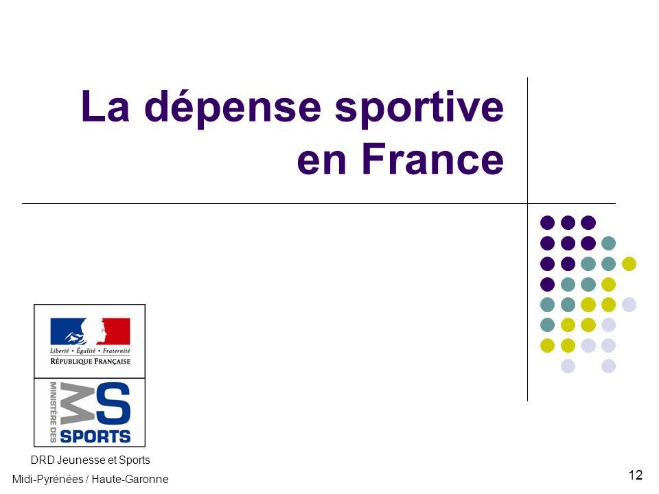 La dépense sportive en France DRD Jeunesse et Sports Midi-Pyrénées / Haute-Garonne 12