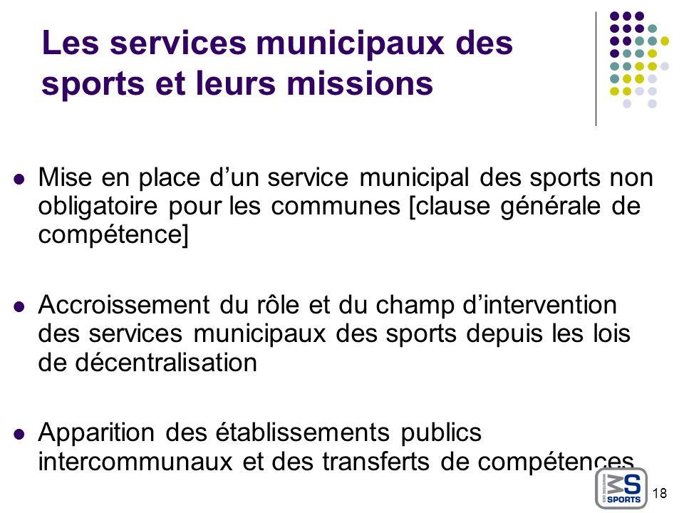 Les services municipaux des sports et leurs missions Mise en place dun service municipal des sports non obligatoire pour les communes [clause générale