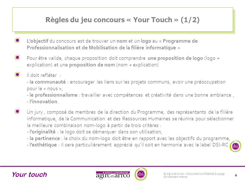 Your touch Règles du jeu concours « Your Touch » (2/2) La combinaison nom-logo gagnante représentera la nouvelle identité du Programme de Professionnalisation et de Mobilisation de la Filière Informatique.