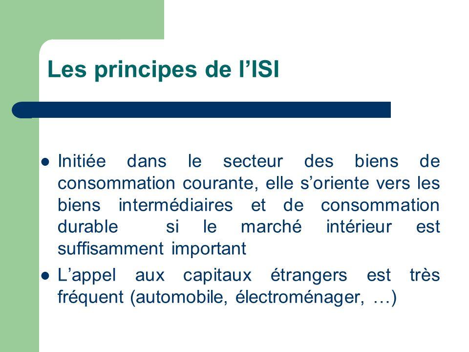 Les principes de lISI Initiée dans le secteur des biens de consommation courante, elle soriente vers les biens intermédiaires et de consommation durab