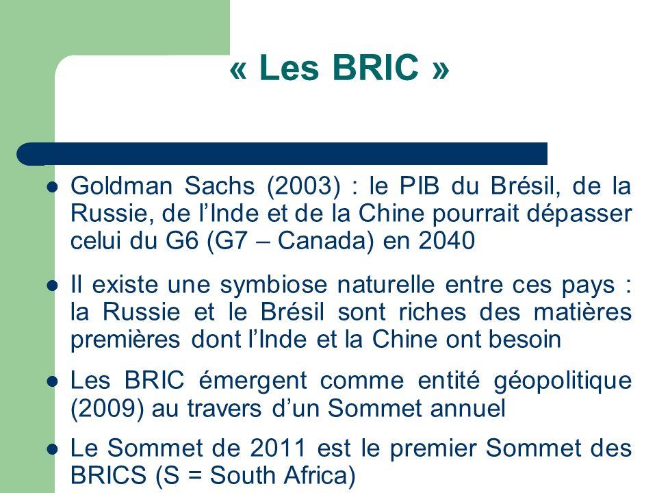 « Les BRIC » Goldman Sachs (2003) : le PIB du Brésil, de la Russie, de lInde et de la Chine pourrait dépasser celui du G6 (G7 – Canada) en 2040 Il exi