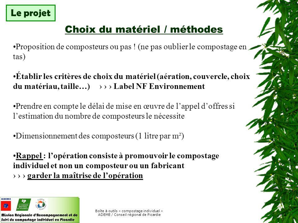 Boîte à outils « compostage individuel » ADEME / Conseil régional de Picardie Ce quimplique une démarche de suivi .