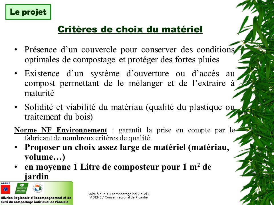 Boîte à outils « compostage individuel » ADEME / Conseil régional de Picardie Signature d une charte d utilisation A LACQUISITION Numéro d appel à un référent TOUTE LAnnée Dépannage à domicile possible TOUTE LAnnée Envoi d une lettre d information sur le compostage (ou de fiches) 3 ou 4 FOIS LA PREMIERE ANNEE puis 2 / an Envoi d un questionnaire d évaluation à Distribution + 1 an Complété par : Visites terrain sur un échantillon de la population Chaque année Étude globale sur les pratiques de gestion des déchets A 5 et 10 ans Réunion d information Au lancement Accompagnement Évaluation Le projet Exemple de suivi