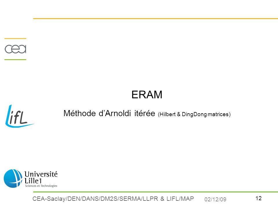 12 CEA-Saclay/DEN/DANS/DM2S/SERMA/LLPR & LIFL/MAP ERAM Méthode dArnoldi itérée (Hilbert & DingDong matrices) 02/12/09