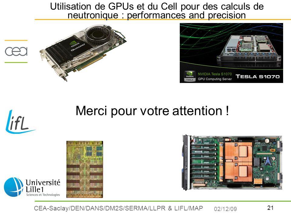 21 CEA-Saclay/DEN/DANS/DM2S/SERMA/LLPR & LIFL/MAP Utilisation de GPUs et du Cell pour des calculs de neutronique : performances and precision Merci po