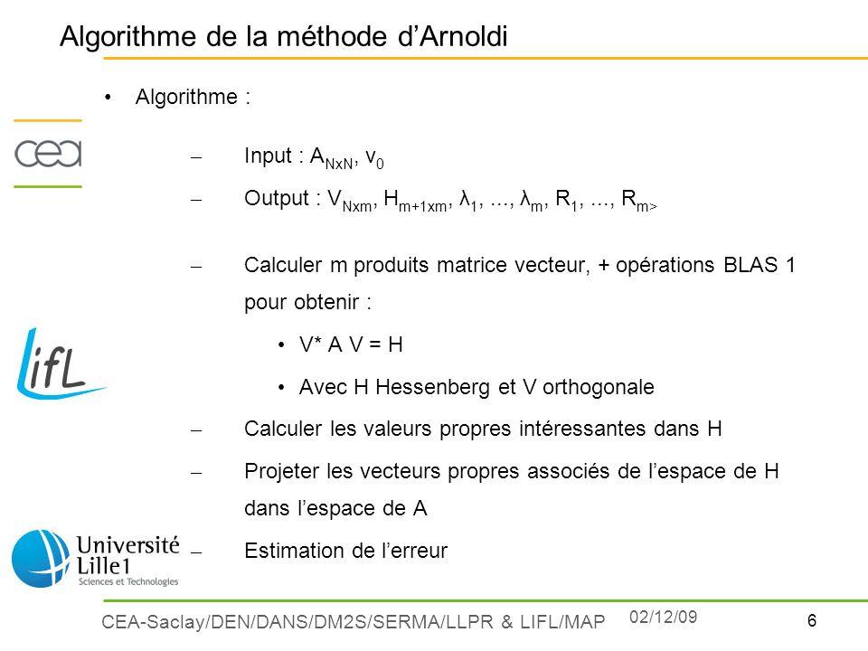 6 CEA-Saclay/DEN/DANS/DM2S/SERMA/LLPR & LIFL/MAP Algorithme : – Input : A NxN, v 0 – Output : V Nxm, H m+1xm, λ 1,..., λ m, R 1,..., R m> – Calculer m
