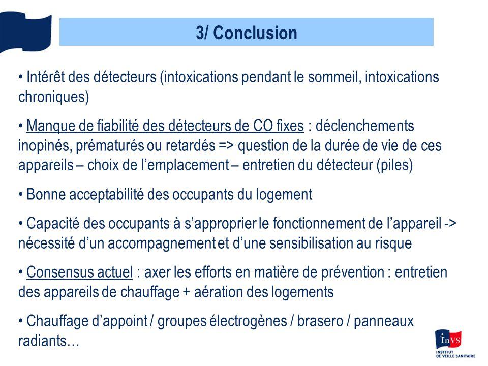 3/ Conclusion Intérêt des détecteurs (intoxications pendant le sommeil, intoxications chroniques) Manque de fiabilité des détecteurs de CO fixes : déc